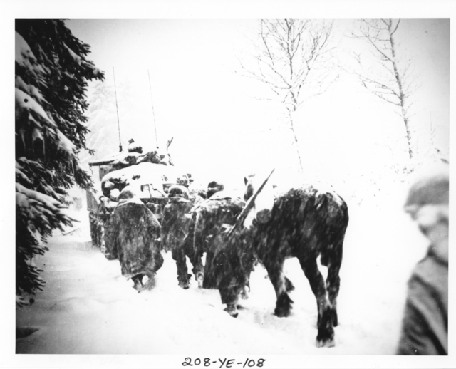 Photograph of American Infantrymen and a Horse Trudging behind an Armored Vehicle in the Snow-Covered Ardennes Forest