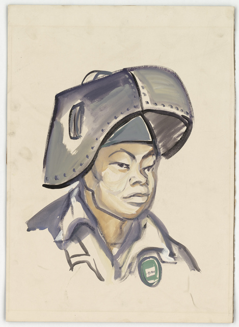 [Portrait of a Japanese worker wearing a welding mask, work uniform and identification factory button.]