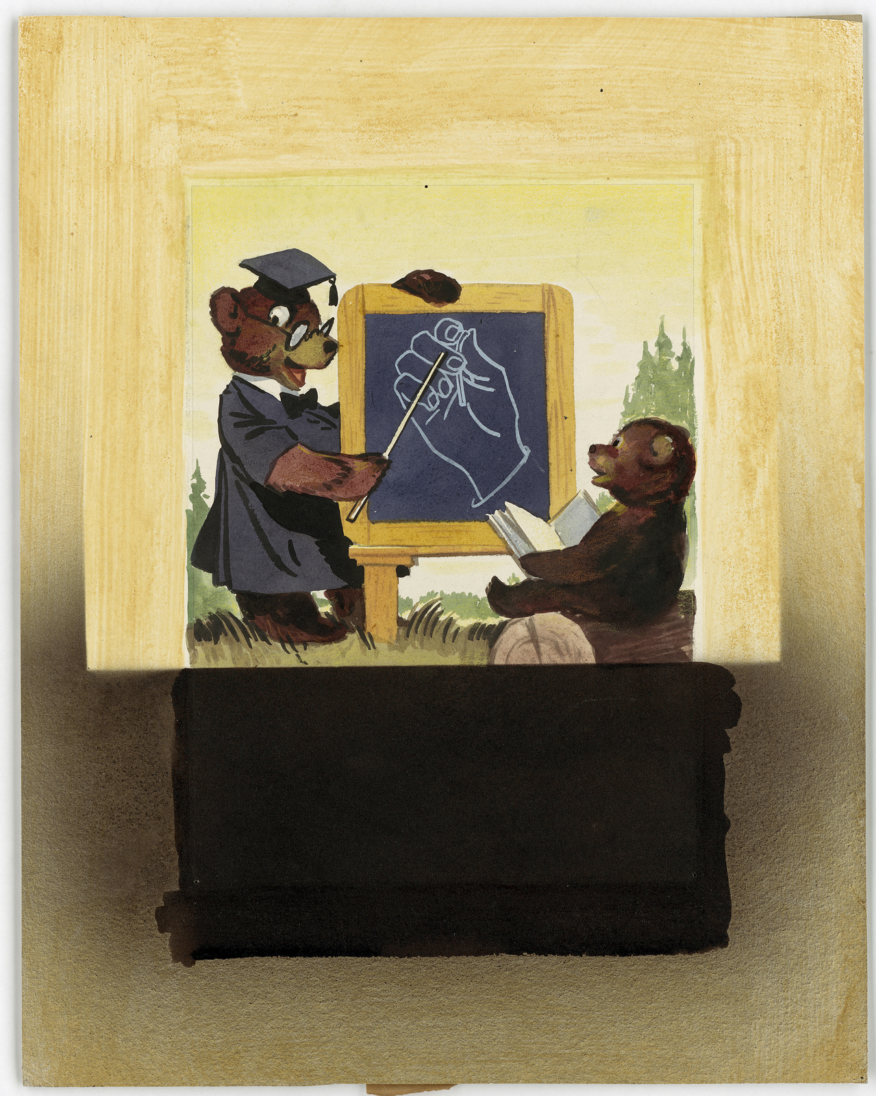 [Smokey Bear in professor gown...lecturing a small bear cub.]