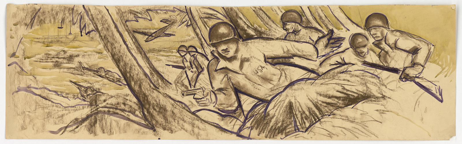 [Soldiers fighting in a wooded area] (Information on back: Guadalcanal Mural, X. Gonzalez) [X. Gonzalez]
