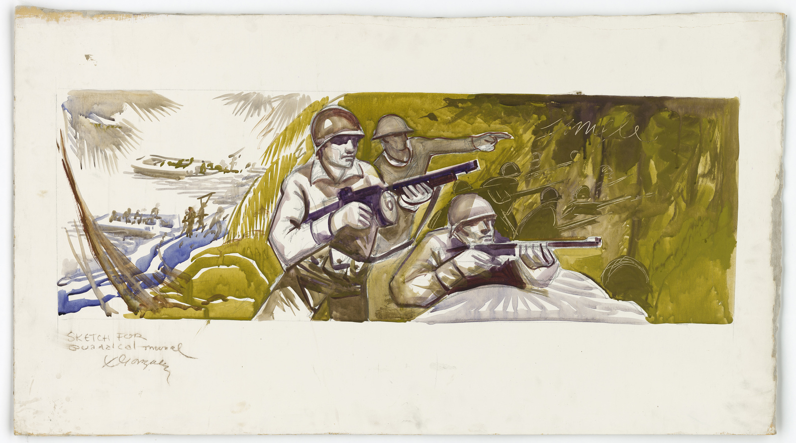 [Soldiers fighting their way up a beach] Sketched for the Guadalcanal mural [X. Gonzalez]