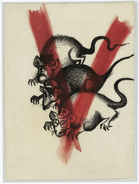 """[Three rats with the faces of Mussolini, Hitler, and Hirohito with a red """"V"""" swirled over the images]"""
