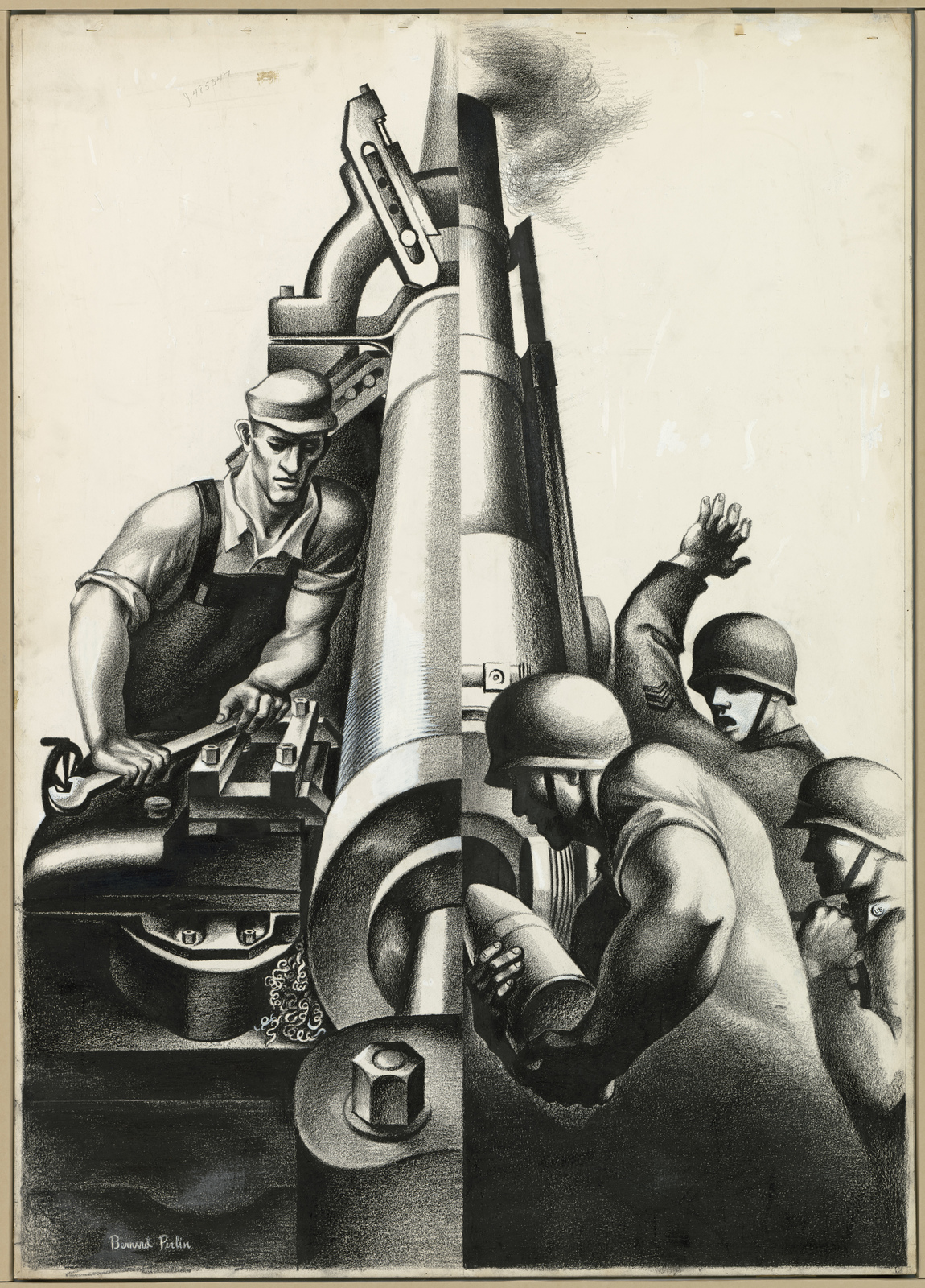 [Two different images put together.  One image shows factory worker and other is artillery men putting missile into the cannon.] [Bernard Perlin]