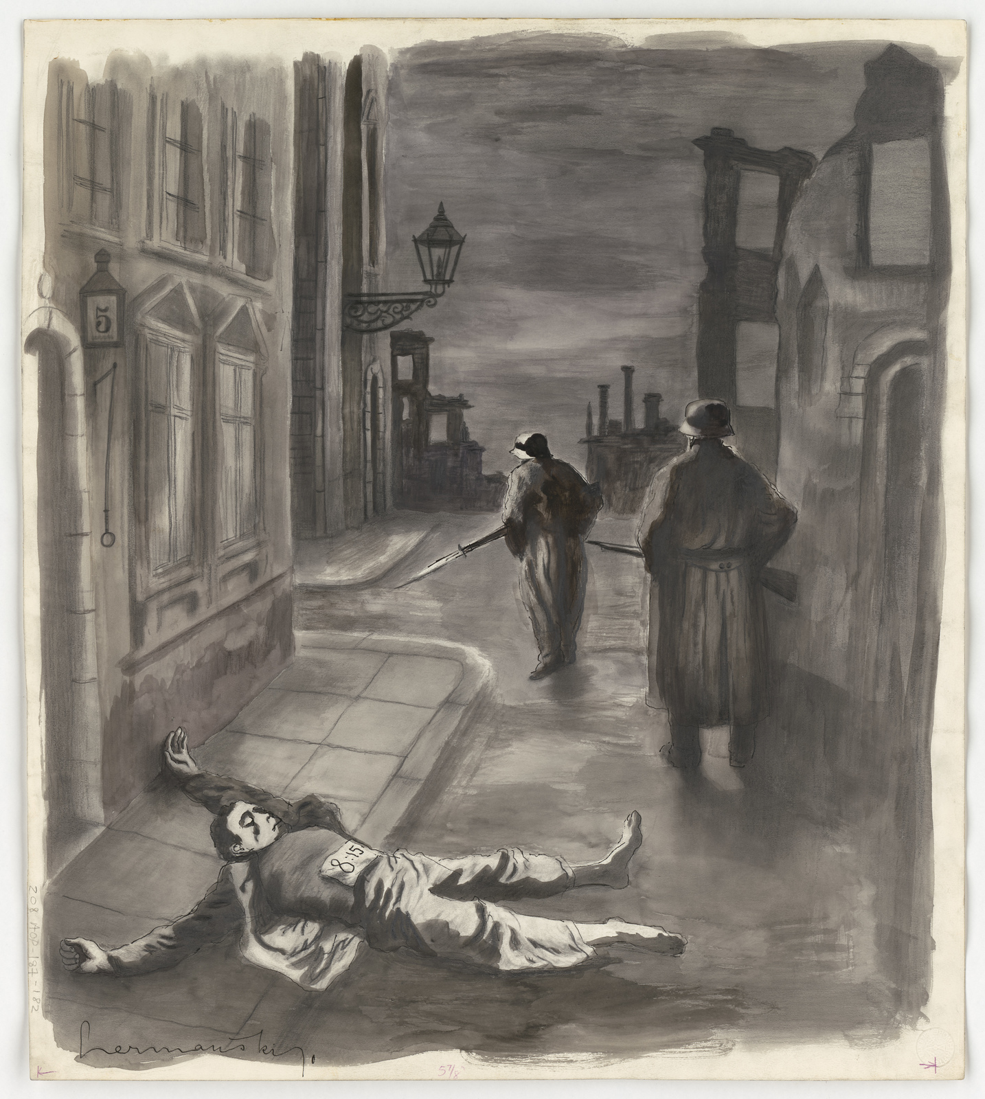 [Two German soldiers walking the streets of a city with a dead man in the foreground]