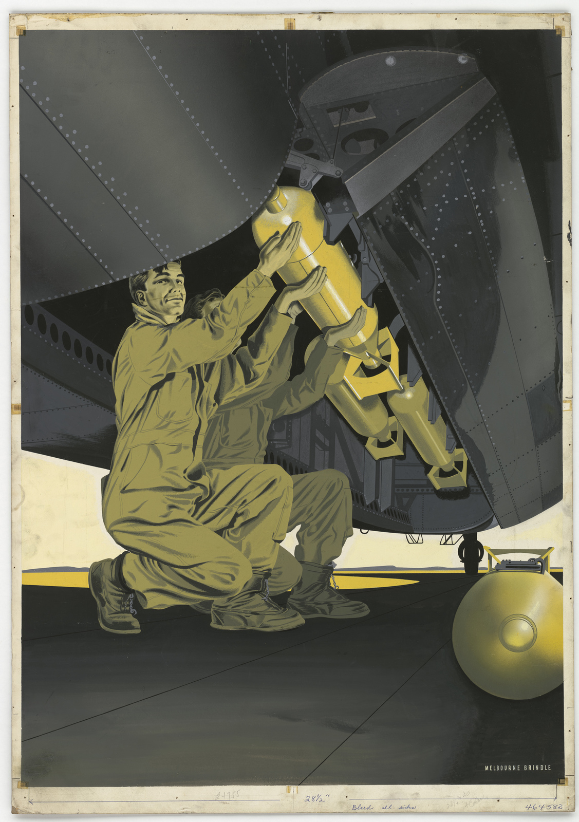 [Two soldiers loading bombs into the belly of an airplane.] [Melbourne Brindle]