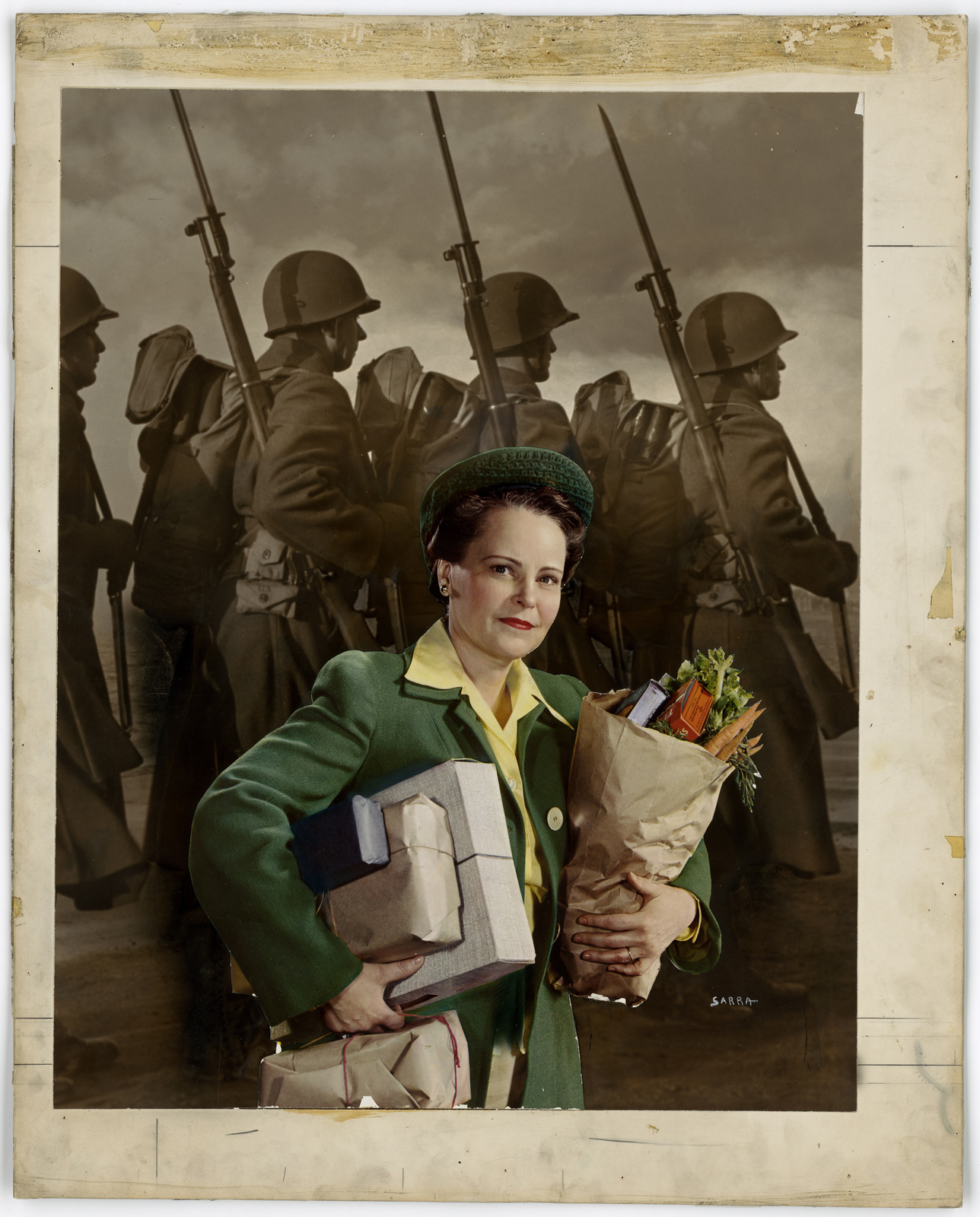 [Woman carrying groceries as soldiers marching with rifles on their shoulders in the background.] [Sarra]