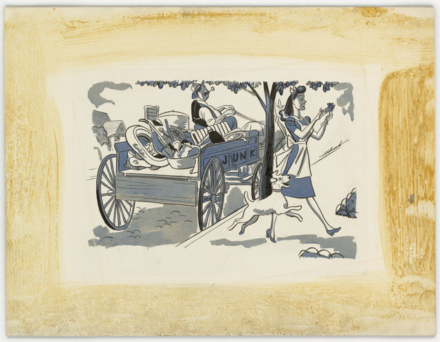 [Woman walking away from a junk wagon with money] [Holcomb.]