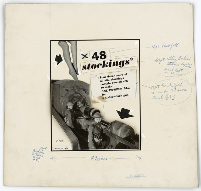 X 48 Stockings - 4 dozen pairs of all-silk stockings contained enough silk to make ONE POWDER BAG for a sixteen-inch gun