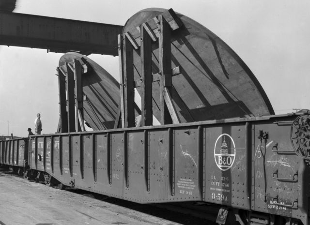 """184-inch cyclotron plates at Southern Pacific freight yard. Photo taken 1/14/1946. 184""""-138. Principal Investigator/Project: Analog Conversion Project"""