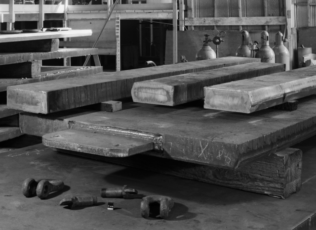 "Beveled edges on pole plates for 184-inch cyclotron magnet. Photo taken 2/12/1946. 184""-154 Principal Investigator/Project: Analog Conversion Project"