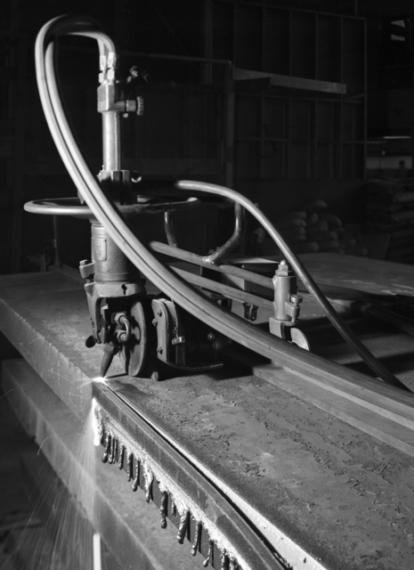"Torturing pole plates for 184-inch cyclotron magnet. Photo taken 2/12/1946. 184""-155 Principal Investigator/Project: Analog Conversion Project"