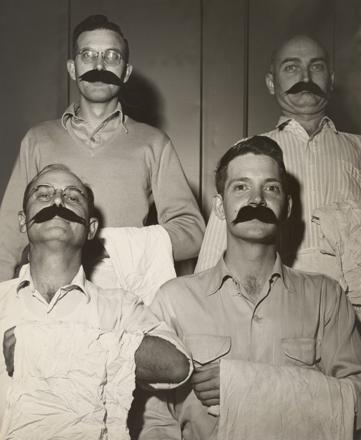 184-inch cyclotron crew in costume. Clockwise from upper left: Fred Yeater, Ralph Dufour, unknown individual, Jimmy Vale.  Principal Investigator/Project: Analog Conversion Project