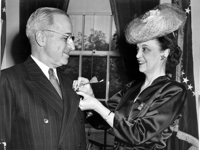 Photograph of Poppy Presentation to President Harry S. Truman