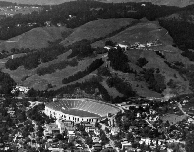 Aerial view of Lawrence Berkeley Lab with Memorial Stadium in foreground and 184-inch cyclotron in background, taken April 30, 1946. Principal Investigator/Project: Analog Conversion Project [Photographer: Donald Cooksey]