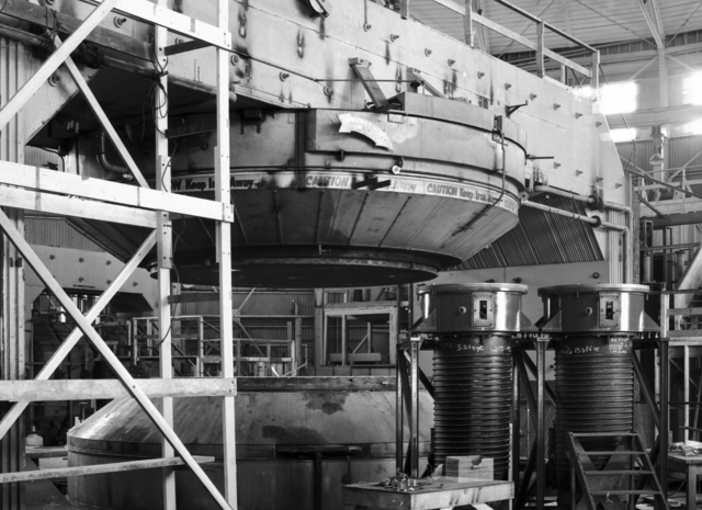 184-inch cyclotron tubes and magnet. Photo taken 5/12/1946, suggested by Brobeck.  Principal Investigator/Project: Analog Conversion Project