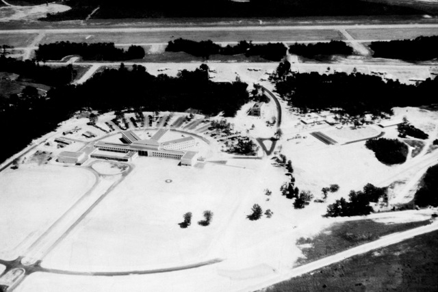 An aerial view of Bldg. 1535, occupied by HQ SAC until Feb. 1948, when the Military Air Trans. Service, later to become the Military Airlift Command, moved in. The Research and Development Command, later to become the Air Research and Development Command, replaced MATS in Jan. 1951. On April 1, 1961 the ARDC became the Air Force Systems Command (AFSC)