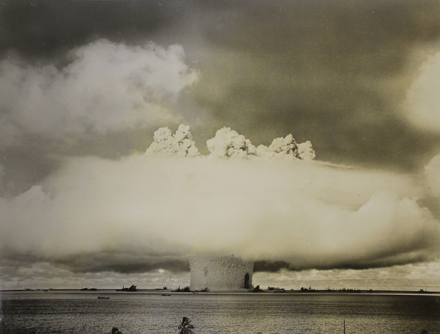 First Stage of Mushroom Cloud from the Baker Day Explosion over Bikini Lagoon