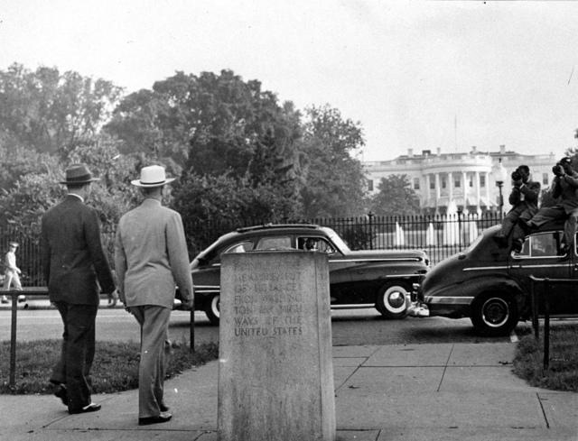 President Harry S. Truman Walking near the White House