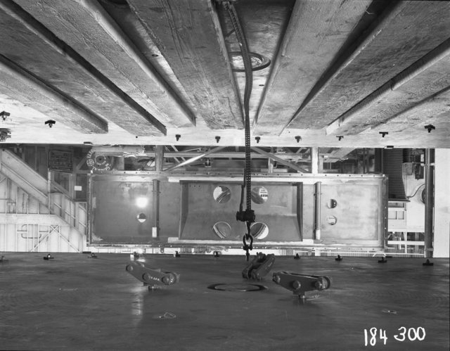 "184-inch cyclotron, calutron conversion, view through magnet at face plate and rotor condenser. Photo taken 8/20/1946. 184""-300 Principal Investigator/Project: Analog Conversion Project"