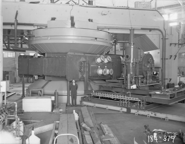 "184-inch cyclotron, calutron conversion, Bill Brobeck. Photo taken 9/14/1946. 184""-379 Principal Investigator/Project: Analog Conversion Project"