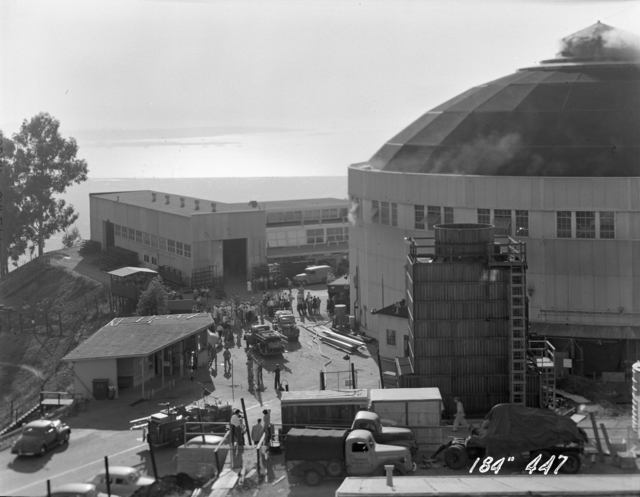 """184-inch cyclotron, calutron conversion. View of building 6 from roof of building 4. Photo taken 10/04/1946. 184""""-447 Principal Investigator/Project: Analog Conversion Project"""