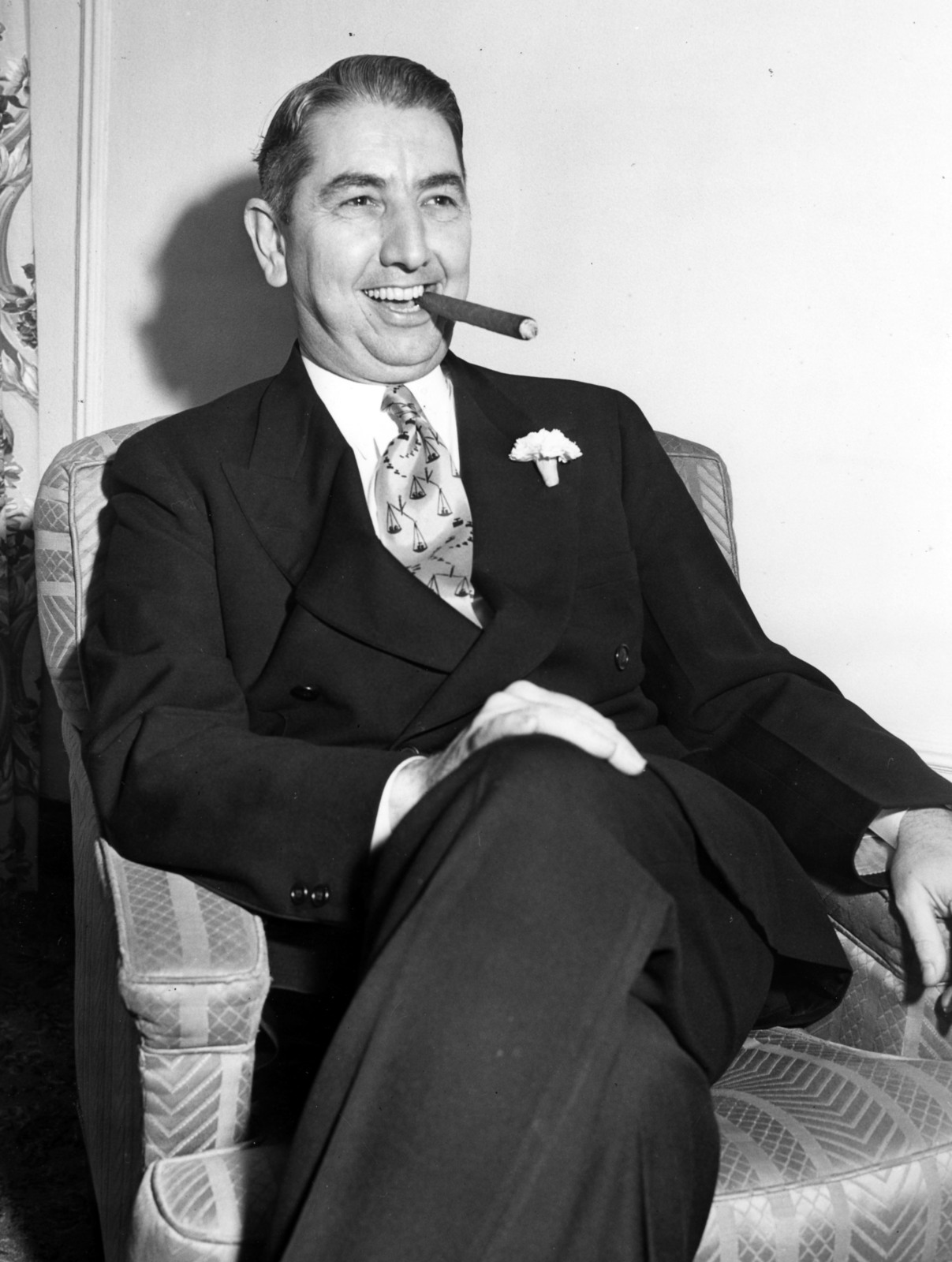 Attorney General Tom C. Clark Seated, Smoking Cigar