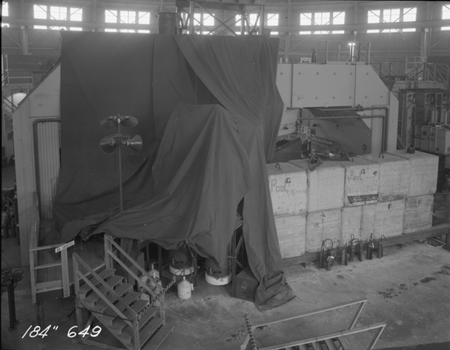 "184-inch cyclotron magnet with protective canvas. Photo taken 1/30/1947. 184""-649 Principal Investigator/Project: Analog Conversion Project"