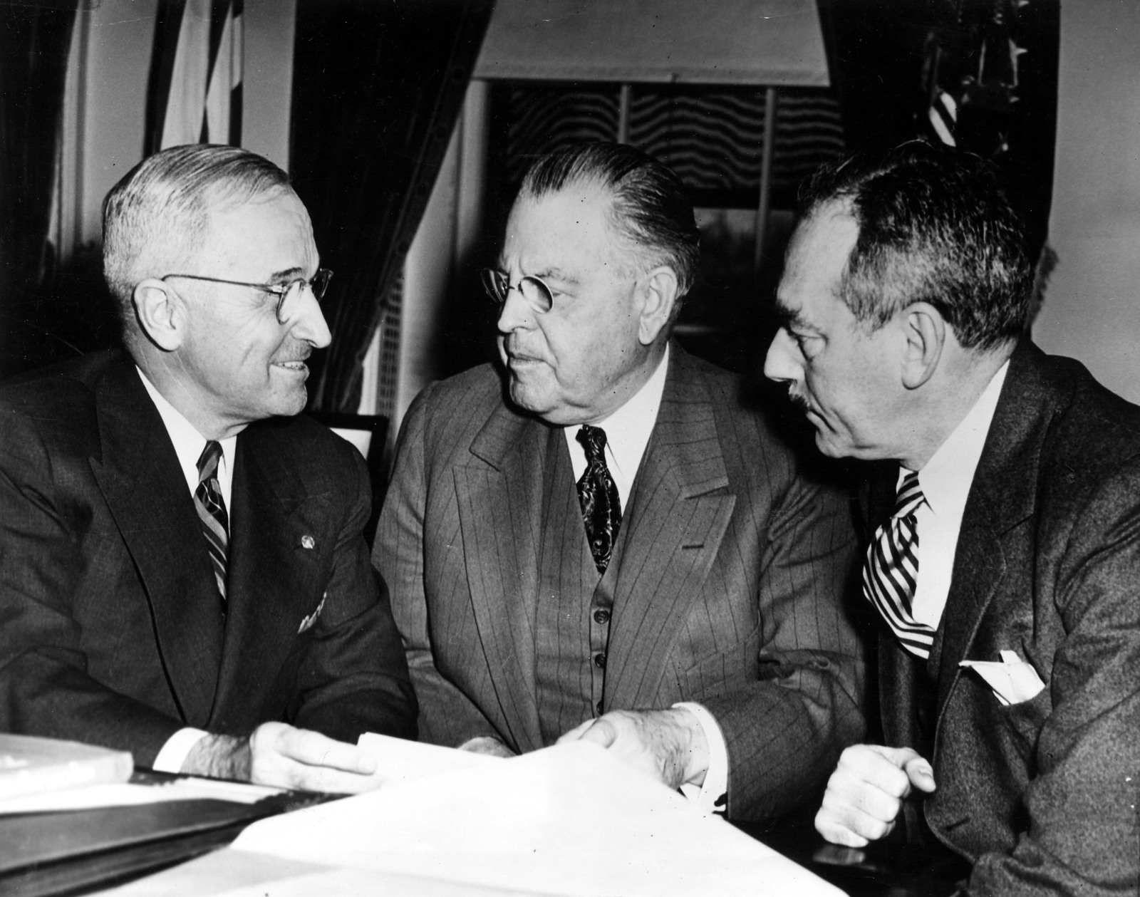President Harry S. Truman Meets with Dean Acheson and Warren Austin