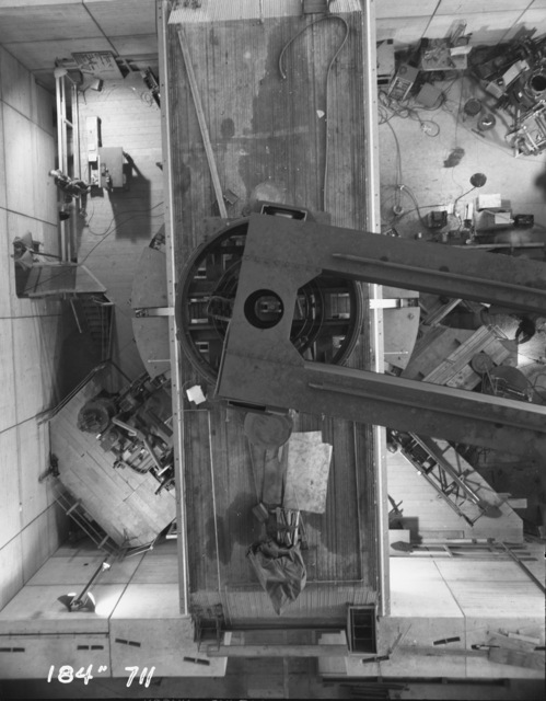 "184-inch cyclotron. Overhead view of the cyclotron, showing magnet yoke, crane, and shielding. Photo taken 4/04/1947. 184""-711 Principal Investigator/Project: Analog Conversion Project"