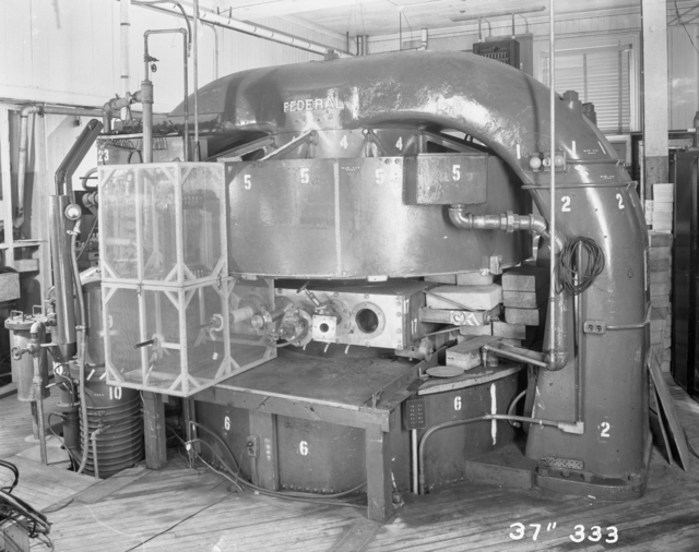 "37-inch cyclotron, general view. Photo taken 4/29/1947. 37""-333. Principal Investigator/Project: S. Harris"