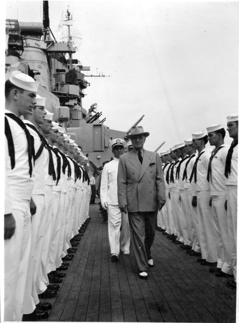 Photograph of President Harry S. Truman as He Inspects the Personnel of the USS Missouri