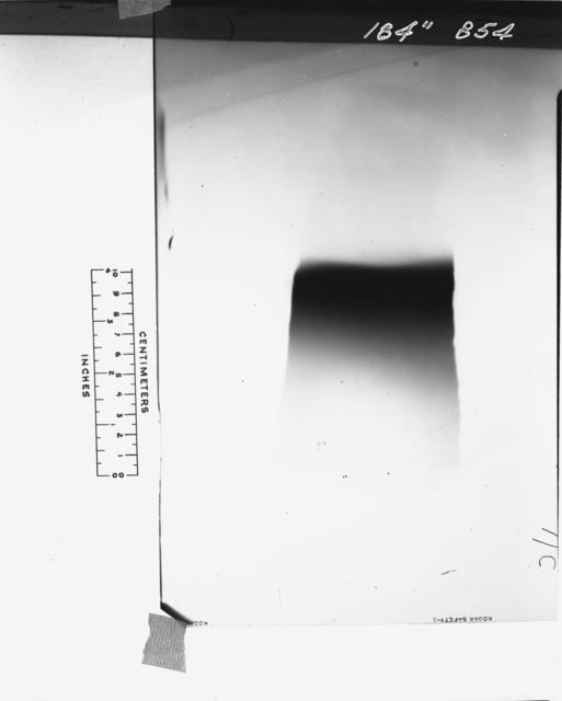 "184-inch cyclotron. Deflected beam pattern with focusing magnet (100 amps) and deuteron tube. Photo taken 12/01/1947. 184""-854 Principal Investigator/Project: Analog Conversion Project"