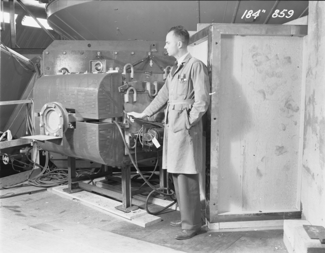 "184-inch cyclotron beam focusing magnet. Photo taken 12/03/1947. 184""-859 Principal Investigator/Project: Analog Conversion Project"