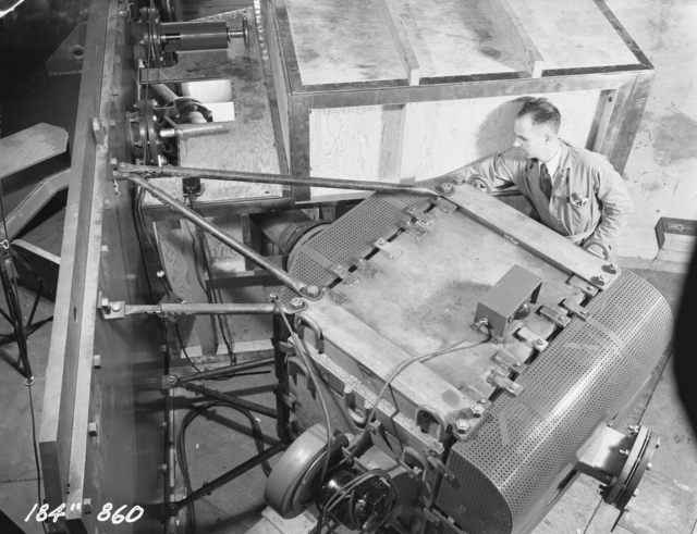 "184-inch cyclotron beam focusing magnet. Photo taken 12/03/1947. 184""-860 Principal Investigator/Project: Analog Conversion Project"