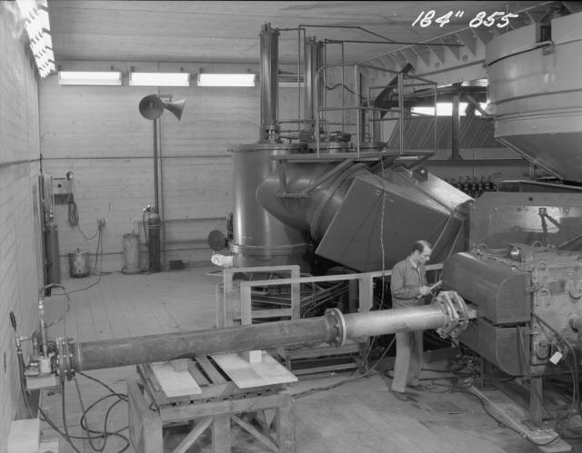 "184-inch cyclotron, bending the magnet. Photo taken 12/03/1947. 184""-855 Principal Investigator/Project: Analog Conversion Project"