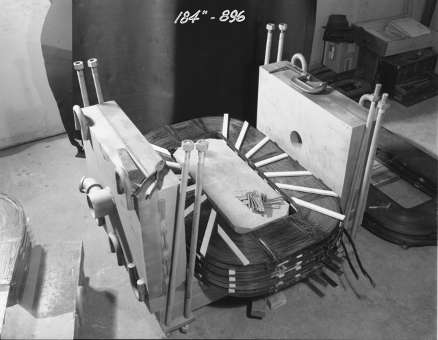 "184-inch cyclotron. Beam focusing magnet. Photo taken 1/01/1948. 184""-896 Principal Investigator/Project: Analog Conversion Project"
