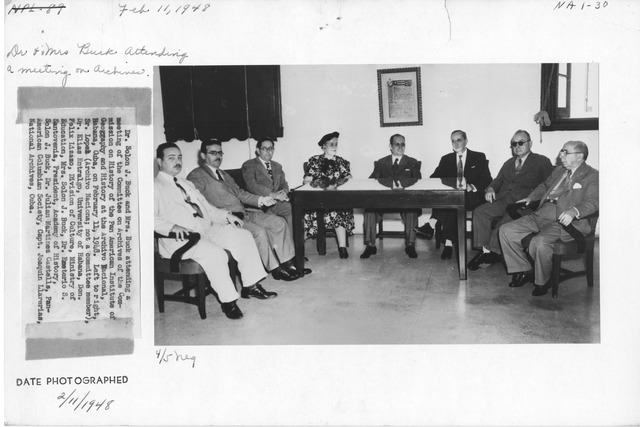 Photograph of Dr. Solon J. Buck and Mrs. Buck Attending a Meeting of the Committee on Archives of the Commission on History of the Pan American Institute of Geography and History at the Archive Nacional, Habana, Cuba