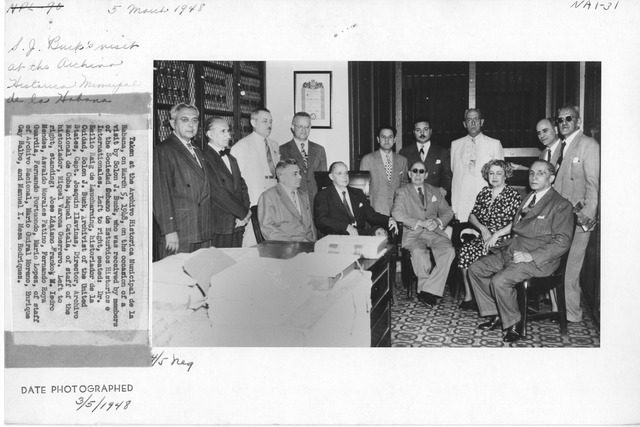 Photograph of Archivo Historica Minicipal de la Habana on the Occasion of a Visit by Solon J. Buck, who was Received by Members of the Sociedad Cubano de Esturbios Histories e Internationales