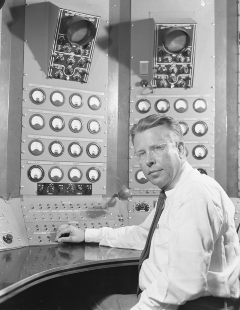 """Ernest Orlando Lawrence in front of the 184-inch cyclotron control panel. Photo taken 5/19/1948. 184""""-939 Principal Investigator/Project: Analog Conversion Project"""