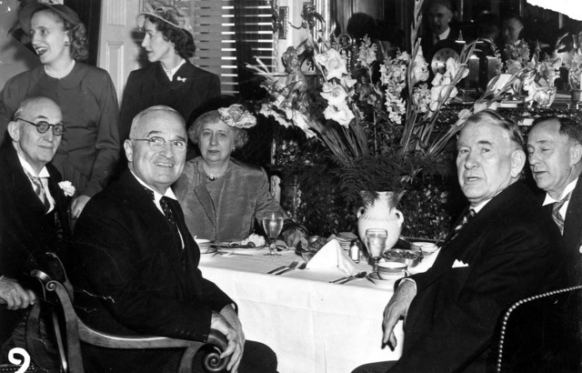 Photograph of the Trumans and Barkleys at an Inaugural Luncheon