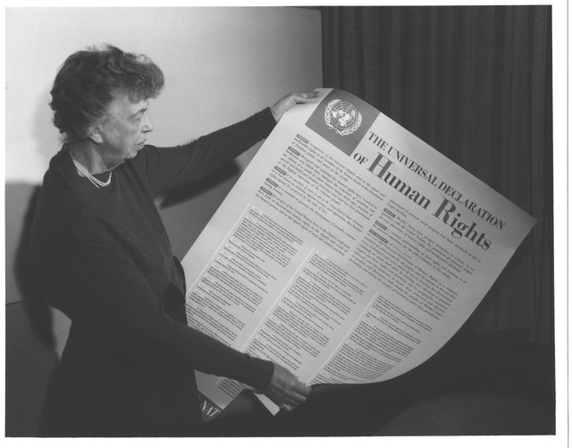 Eleanor Roosevelt and United Nations Universal Declaration of Human Rights, Lake Success, New York
