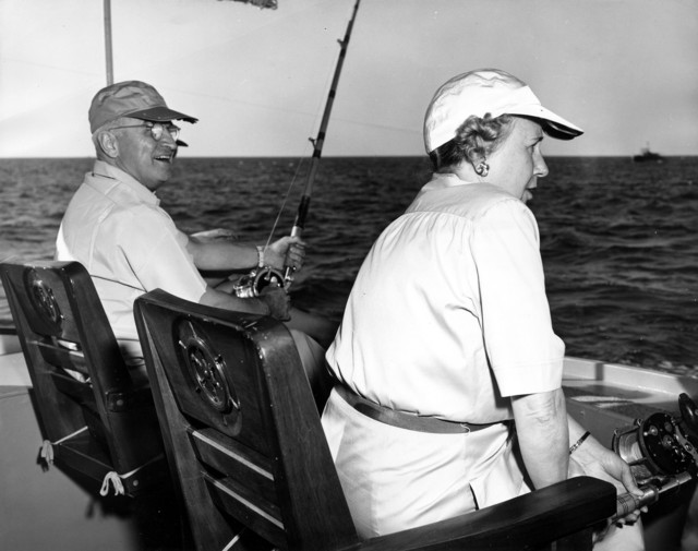 Photograph of President Harry S. and Mrs. Bess W. Truman Fishing