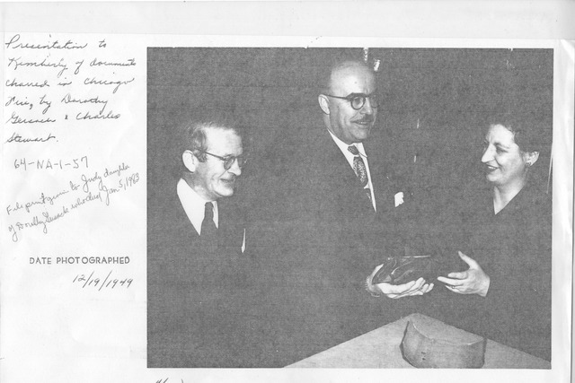Photograph of Presentation to Arthur Kimberly of Documents Charred in Chicago Fire, by Dorothy Gersack (R) and Charles Stewart (L)