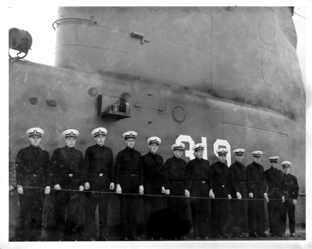 A Group of Yale University Naval Cadets Tour a Submarine Base