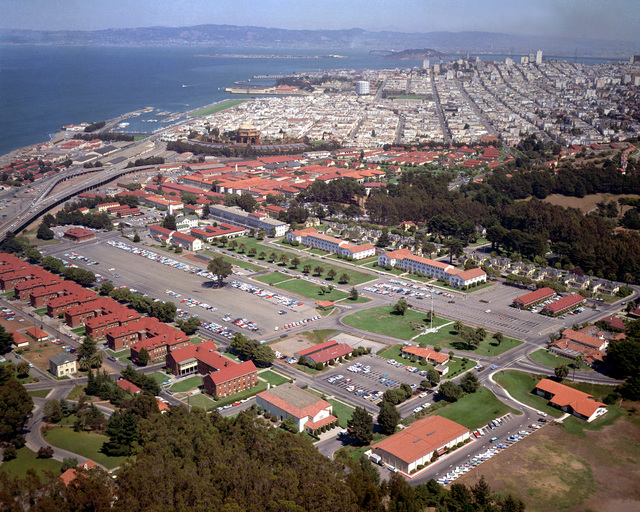 Aerial view of the Presidio parade grounds and 6th Army Headquarters building.