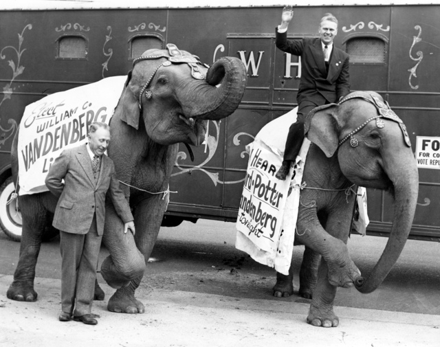 Photograph of Congressman Gerald R. Ford Campaigning from atop a Circus Elephant