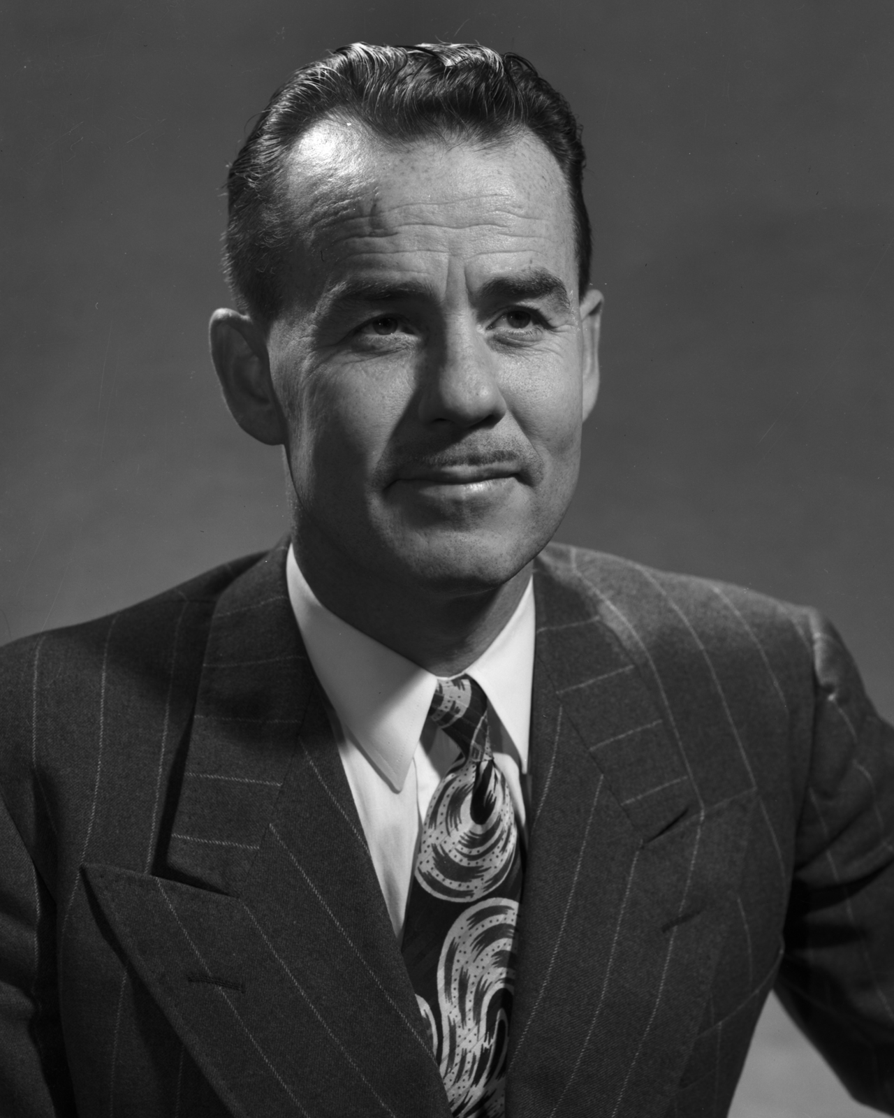 Portrait of Stanley G. Thompson taken February 20, 1950. Associated with Glenn Seaborg in the discovery of plutonium and later a member of the team that discovered berklium and californium. Morgue 1953-1 (P-1) [Photographer: Donald Cooksey]
