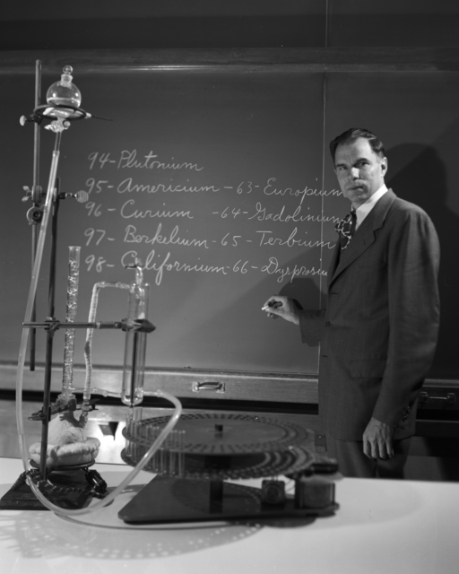 Publicity shot of Glenn Seaborg lecturing on the discovery of elements 97 (berkelium) and 98 (californium), taken May 19, 1950. Morgue 1956-6 (P-2) [Photographer: Donald Cooksey]