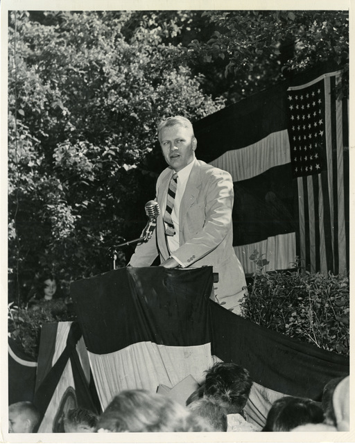 Photograph of Representative Gerald R. Ford, Jr., Making a Speech During an Appearance at a Michigan Fifth Congressional District Fourth of July Celebration