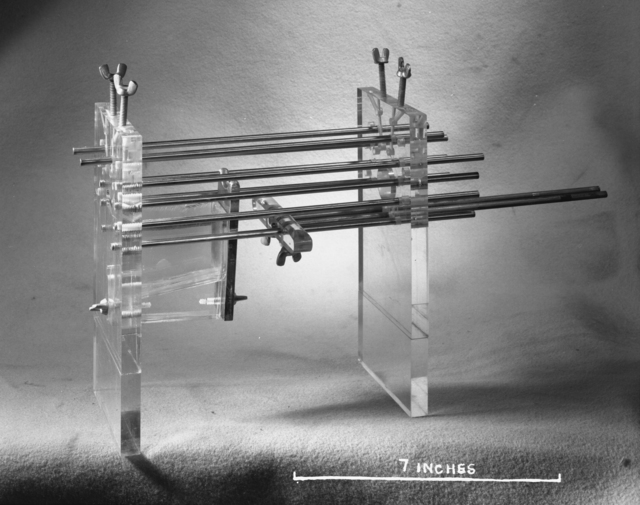 "Dr. Bowers' rat cage. Photo taken 7/25/1950. 60""-278.  Principal Investigator/Project: Crocker Lab/60-inch"